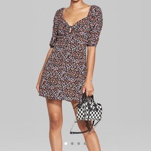 Wild Fable Floral Keyhole Puff Sleeve Dress XL